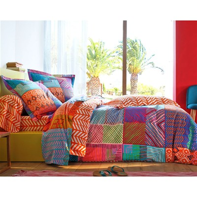 BECQUET Drap-housse orange motif chevrons - multicolore