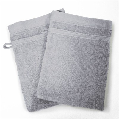 Vitamine - Lot de 2 gants de toilette 450 g - gris