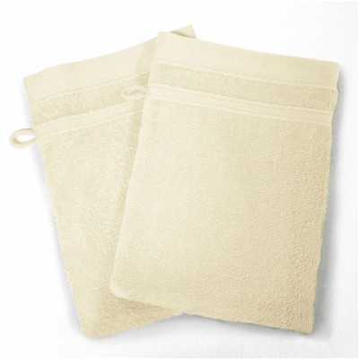 Vitamine - Lot de 2 gants de toilette 450 g - naturel