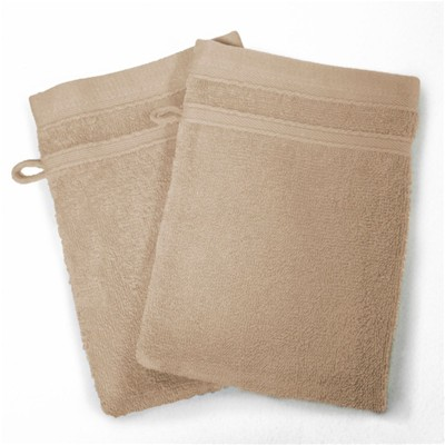 Vitamine - Lot de 2 gants de toilette 450 g - taupe