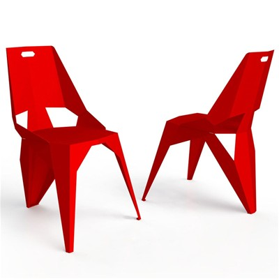 Zhed Plexus - chaise 3 pieds - rouge