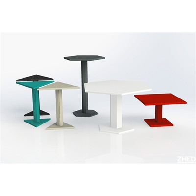 ZHED HEXAGONE - Table mange debout - Blanc cassé