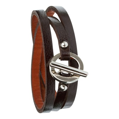 Trendy - Bracelet triple tour en cuir - marron