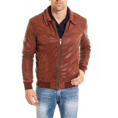 OAKWOOD John - Veste en cuir - whisky