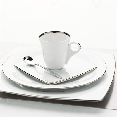 GUY DEGRENNE SD One Platine - Lot de 3 assiettes à dessert en porcelaine - blanc