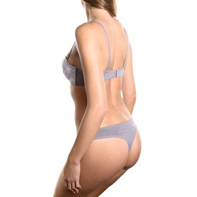 JUST FOR VICTORIA Kindy - Ensemble soutien-gorge push-up et string - gris