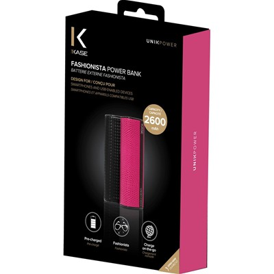 THE KASE Fashionista - Batterie externe 2600 mah pour iPhone 5 et 5S et 6 et iPod touch 5 et Samsung Galaxy S5 et HTC One M8 - rose