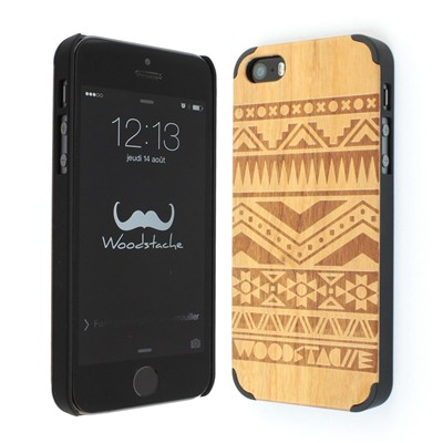 WOODSTACHE Navajo - Coque pour iPhone 5/5S - marron clair