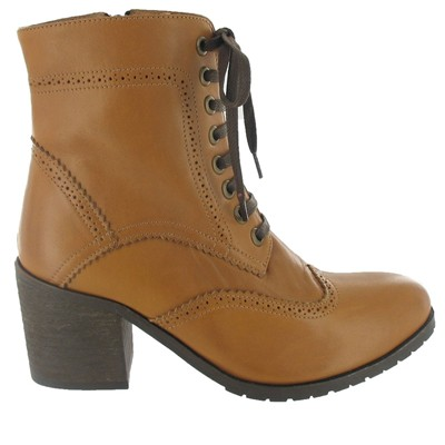 Bottines richelieu en cuir - caramel