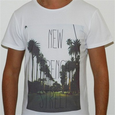 FRENCHCOOL French Street - T-shirt en coton col rond - blanc