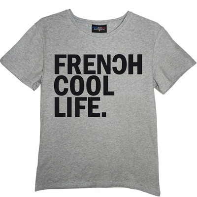 FRENCHCOOL Life - T-shirt en coton col rond - gris