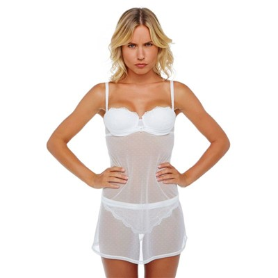POMM'POIRE In Love - Ensemble babydoll et string - blanc