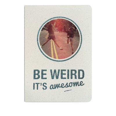 THE COOL COMPANY Be weird it's awesome - Carnet paillette et visuel - bleu ciel