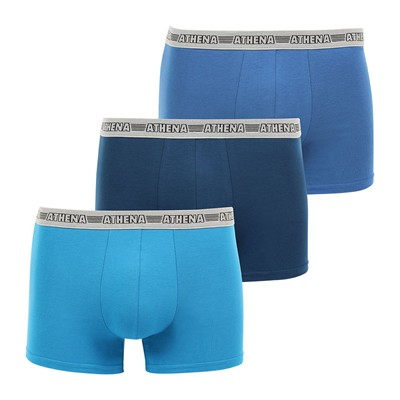 ATHENA Eco Pack - Lot de 3 boxers - bleu