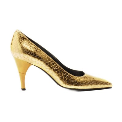 Bella Python - Escarpins cuir talon pliable et rétractable - or