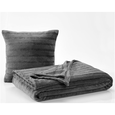 BECQUET Plaid et couverture microfibre - anthracite