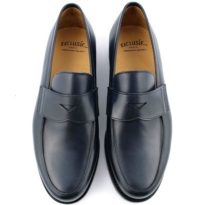 EXCLUSIF PARIS Lord - Mocassins en cuir - bleu marine