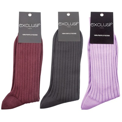 EXCLUSIF PARIS Lot de 3 chaussettes - multicolore