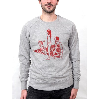 MONSIEUR POULET Pizza - Sweat-shirt - gris chine