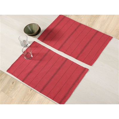 BLANC CERISE Délices de métis lavé - Lot de 2 sets de table en lin mélangé - rouge