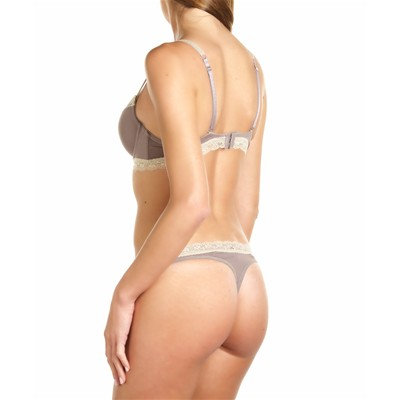 JUST FOR VICTORIA Famy - Ensemble soutien-gorge et string - gris