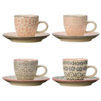 Cécile - Lot de 4 tasses 6x5.3cm et soucoupes 11.5cm - multicolore