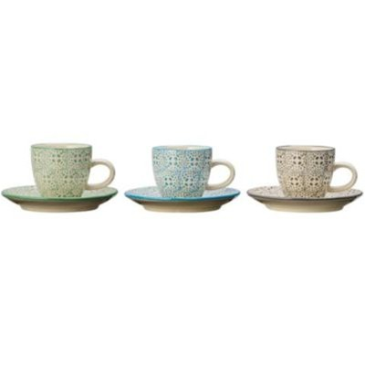 Isabella - Lot de 3 tasses 6x5.3cm et soucoupes 11.5cm - multicolore