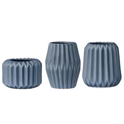 Lot de 3 bougeoirs - bleu