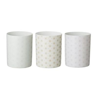 Lot de 3 bougeoirs 7.5x9cm - blanc