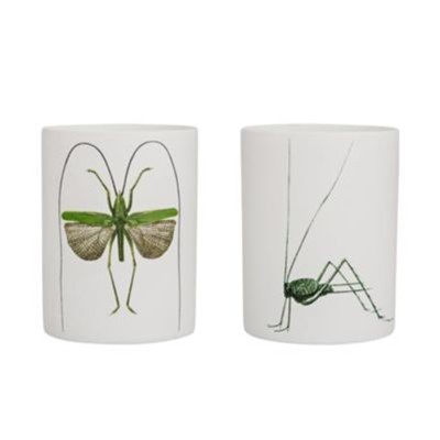 Lot de 2 bougeoirs 6x8cm - blanc