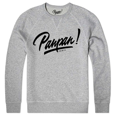 panpan paris logo - Sweat shirt coton bio - gris chine