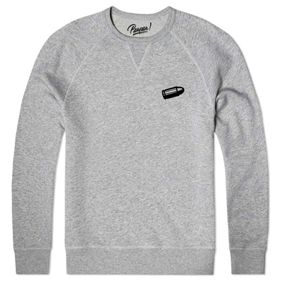 Sweat shirt coton bio ecusson bullet - gris chine