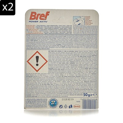 BREF Power Active - Lot de 2 blocs nettoyants WC - 50 g
