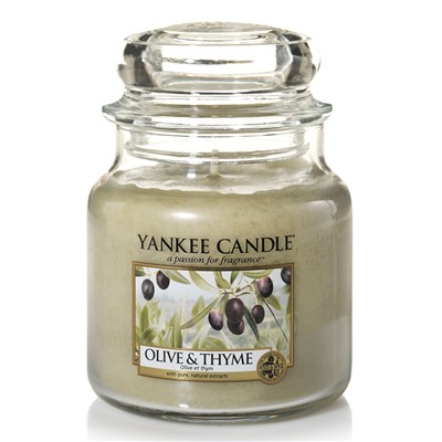 YANKEE CANDLE Olive et Thym - Moyenne Jarre - beige