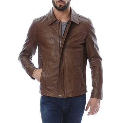 OAKWOOD Veste en cuir - marron clair