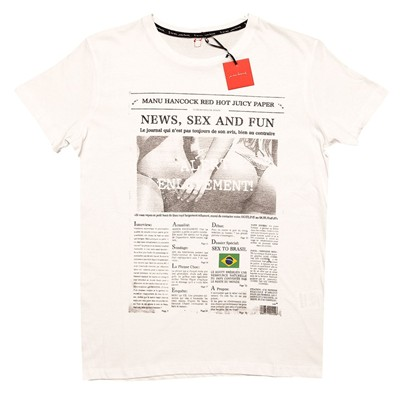 MANU HANCOCK Newspaper - T-shirt - blanc