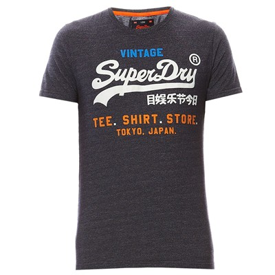 SUPERDRY T-shirt Label - bleu marine