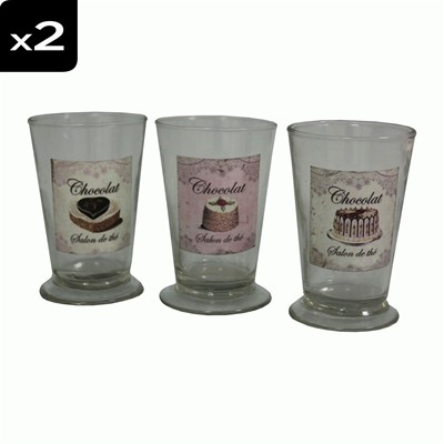 ANTIC LINE Set de 6 verres - imprimé