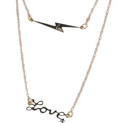 Collier double fantaisie Love - doré