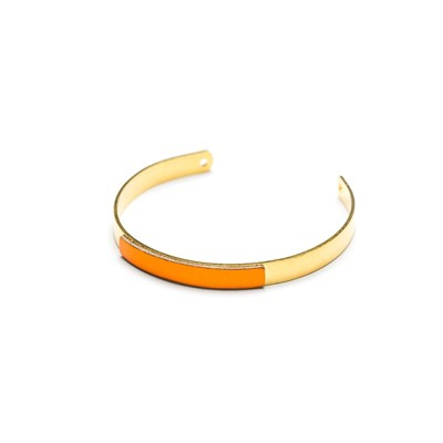Bracelet en plaqué or finition cuir - orange