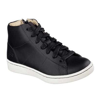 SKECHERS LACE UP HIGH - Baskets en cuir - noir