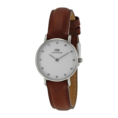 DANIEL WELLINGTON Montre bracelet en cuir - marron