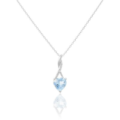 Collier en or, topaze et diamants - blanc