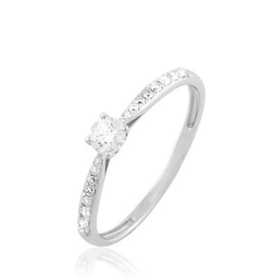 Laetitia - Solitaire en or blanc avec diamants - blanc