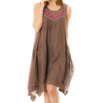 100% Lin robe en lin - marron