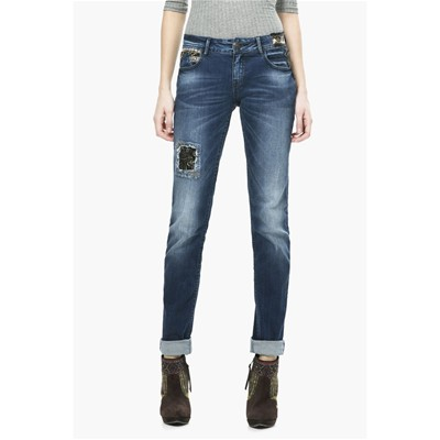 DESIGUAL Dark Wash - Jean slim - noir
