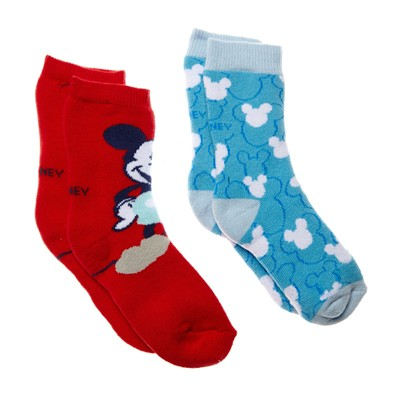 DISNEY Mickey - Lot de 2 paires de chaussettes - rouge