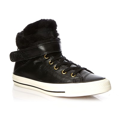 Ctas Brea Leather + Fur Hi - Baskets montantes - noir