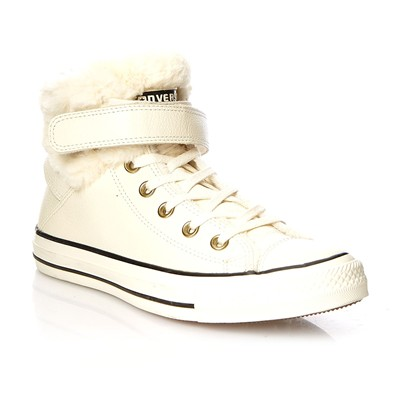 Ctas Brea Leather + Fur Hi - Baskets montantes - blanc