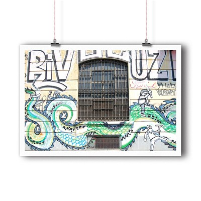 BALIBART Street Window - Affiche d'art - vert clair